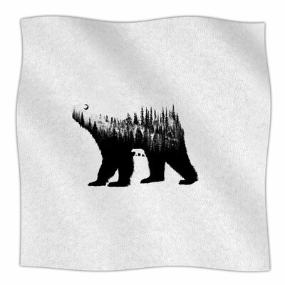 BarmalisiRTB the Bear Illustration Fleece Throw Size: 50 W x 60 L