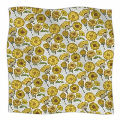 Pom Graphic Design Calendula Flowers Tags Fleece Throw Size: 60 W x 80 L