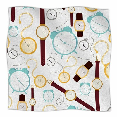 Stephanie Vaeth Clocks Fleece Throw Size: 60 W x 80 L