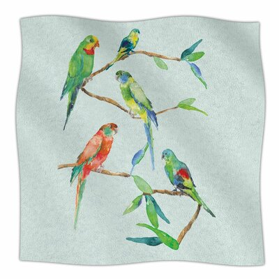 Sonal Nathwani Parrot Party Watercolor Fleece Throw Size: 50 W x 60 L
