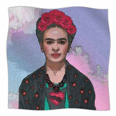 Oriana Cordero Trendy Frida KahloFerwell Fleece Throw Size: 60 W x 80 L