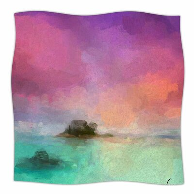 Oriana Cordero Tenerife Aqua Fleece Throw Size: 50 W x 60 L