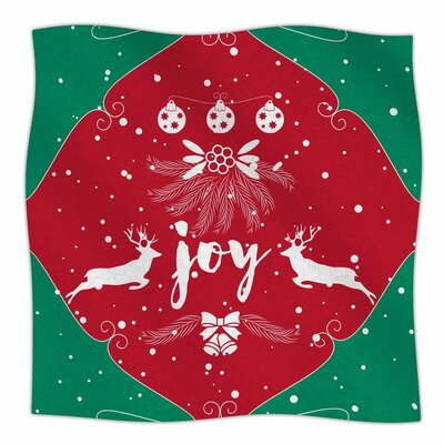 Famenxt Christmas Joy Digital Fleece Throw Size: 50 W x 60 L
