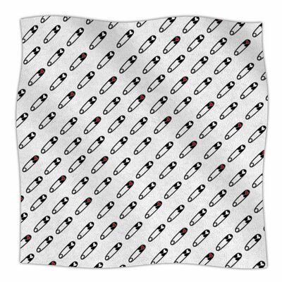 Jane Smith Heart Safety Pins Illustration Fleece Throw Size: 50 W x 60 L