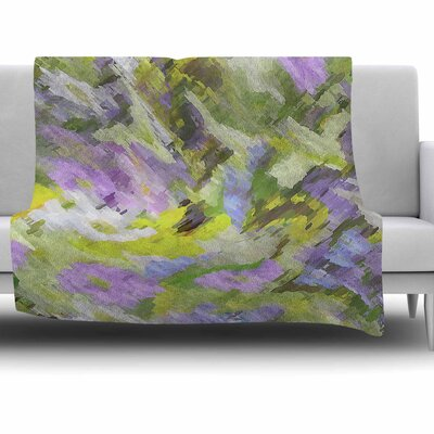 Giverny by Alison Coxon Fleece Blanket Color: Lilac, Size: 50 W x 60 L