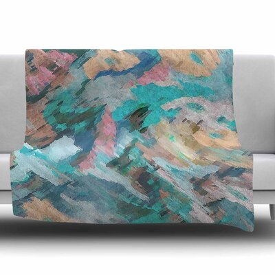 Giverny by Alison Coxon Fleece Blanket Color: Blue, Size: 50 W x 60 L