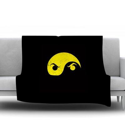 Yin Yang Ninja Frederic Levy Hadida Fleece Blanket Size: 50 W x 60 L