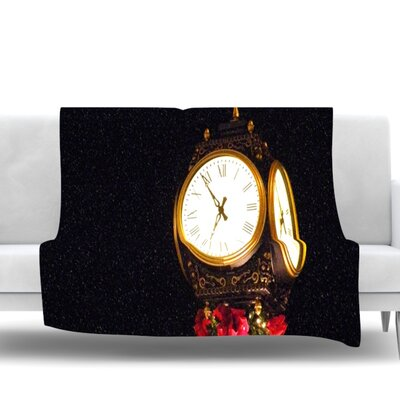 Xmas Clock by Robin Dickinson Seasonal Fleece Blanket Size: 60 W x 80 L