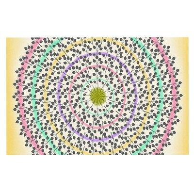 Famenxt Leafy Watercolor Mandala Pastels Abstract Doormat
