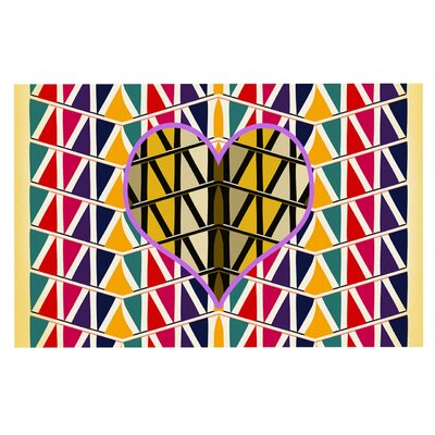 Famenxt Heart in Abstract Geometric Abstract Doormat