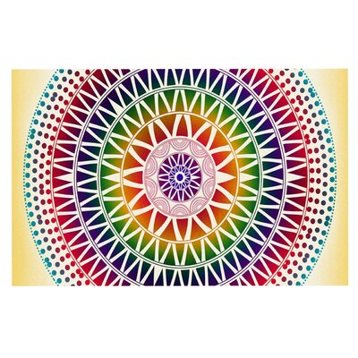 Famenxt Colorful Vibrant Mandala Rainbow Geometric Doormat