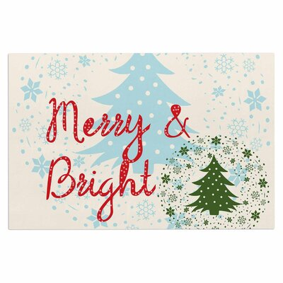 Famenxt Merry and Bright Holiday Typography Doormat
