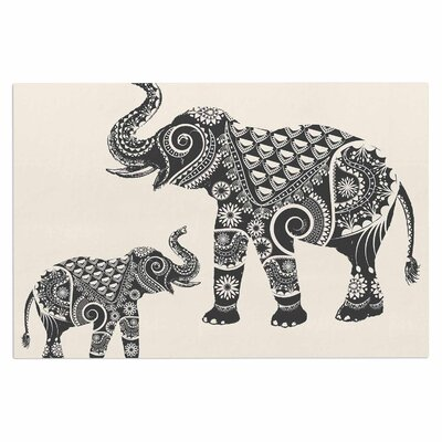 Famenxt Ornate Indian Elephant Boho Doormat