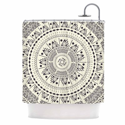 Famenxt Swadesi Soft Boho Mandala Illustration Shower Curtain