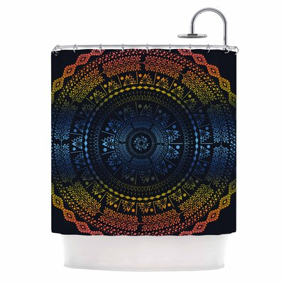 Famenxt Night Queen Boho Mandala Illustration Shower Curtain