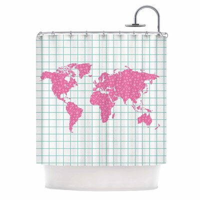 Famenxt Grid Map Mint Shower Curtain