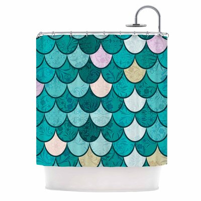 Famenxt Mermaid Fish Scales Illustration Shower Curtain