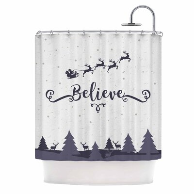 Famenxt Christmas Believe Illustration Shower Curtain