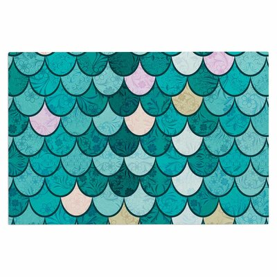 Famenxt Mermaid Fish Scales Nautical Illustration Doormat