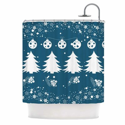 Famenxt Merry Merry Christmas Illustration Shower Curtain