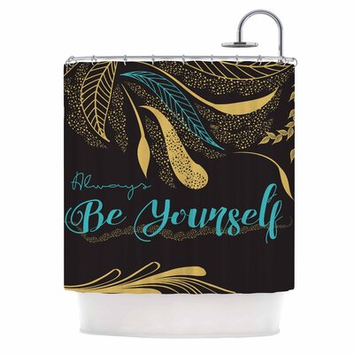 Famenxt Always Be Yourself Gold Shower Curtain