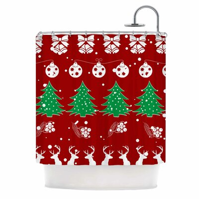 Famenxt Christmas Vibes Red Illustration Shower Curtain