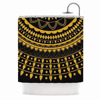Famenxt Golden Vibes Mandala Shower Curtain