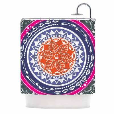 Famenxt Boho Folk Mandala Shower Curtain Color: Olive