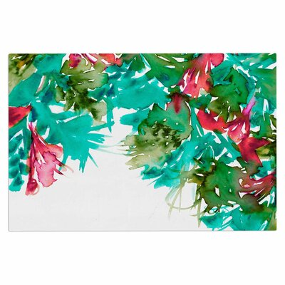 Ebi Emporium Floral Cascade 9 Doormat Color: Teal/Red
