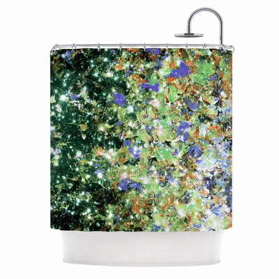 Ebi Emporium into To the Night Green Purple Shower Curtain