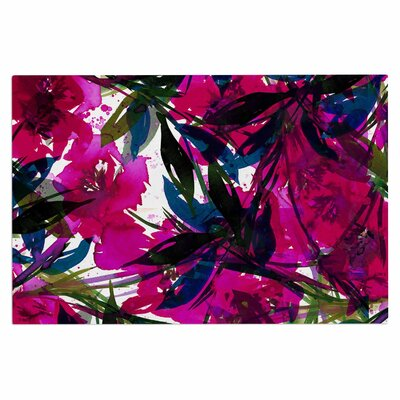 Ebi Emporium Floral Fiesta Plum Watercolor Painting Doormat Color: Magenta/Blue