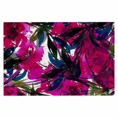 Ebi Emporium Floral Fiesta Plum Watercolor Painting Doormat Color: Magenta/Blue
