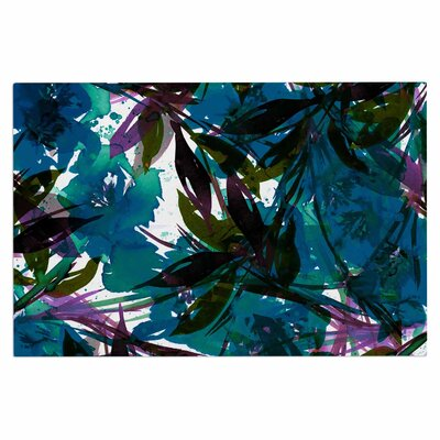 Ebi Emporium Floral Fiesta Plum Watercolor Painting Doormat Color: Teal