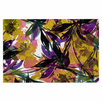Ebi Emporium Floral Fiesta Plum Watercolor Painting Doormat Color: Yellow/Purple/Gold