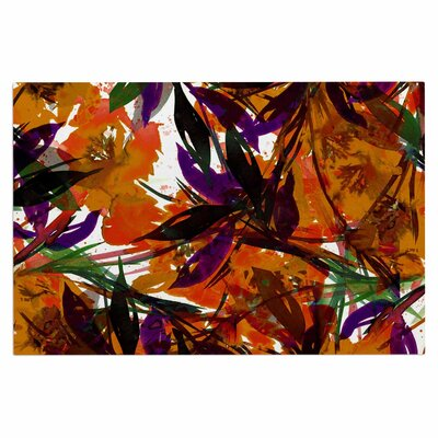 Ebi Emporium Floral Fiesta Plum Watercolor Painting Doormat Color: Orange