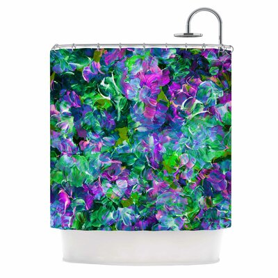 Ebi Emporium Bloom On! Abstract Shower Curtain Color: Green/Purple
