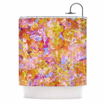 Ebi Emporium Bloom On! Abstract Shower Curtain Color: Yellow Orange/Pink Orange