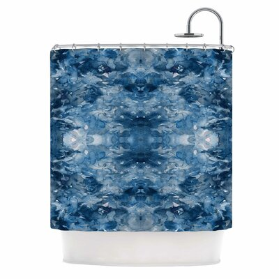 Ebi Emporium Tie Dye Helix Abstract Shower Curtain Color: Blue/White