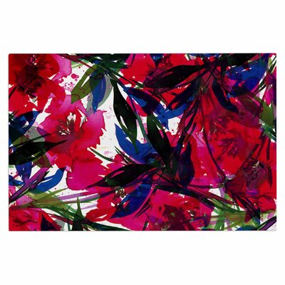 Ebi Emporium Floral Fiesta Plum Watercolor Painting Doormat Color: Red/Blue/Maroon
