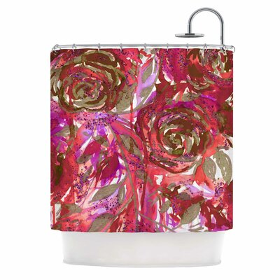 Ebi Emporium Rose Combustion - Coral Red Shower Curtain