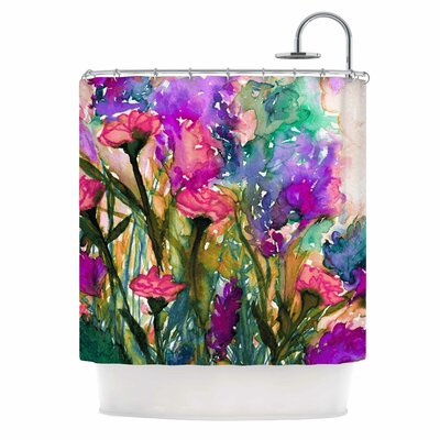 Ebi Emporium Floral insurgence 6 Shower Curtain Color: Green/Pink