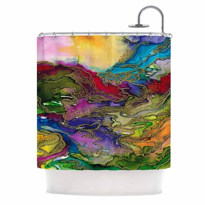 Ebi Emporium Bring on Bohemia 4 Rainbow Shower Curtain Color: Teal/Yellow