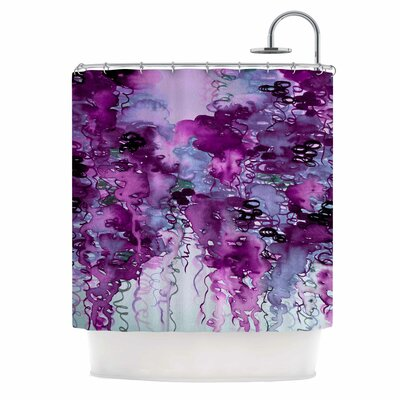 Ebi Emporium Beauty in the Rain Shower Curtain Color: Purple/Plum Lavender