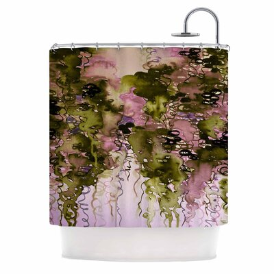Ebi Emporium Beauty in the Rain Shower Curtain Color: Olive Pink/Green Lavender