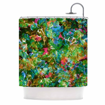 Ebi Emporium Bloom On! Abstract Shower Curtain Color: Green/Blue