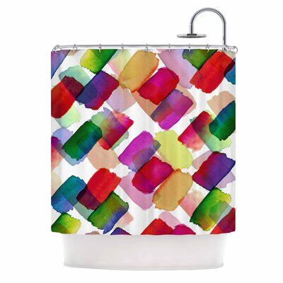 Ebi Emporium Strokes of Genius 4 Shower Curtain Color: Purple/Yellow
