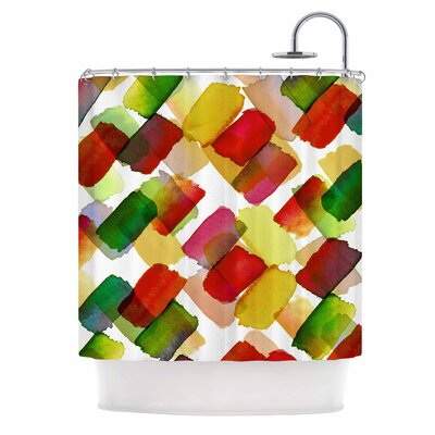Ebi Emporium Strokes of Genius 4 Shower Curtain Color: Red/Green