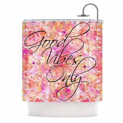 Ebi Emporium Good Vibes Only 2 Shower Curtain Color: Pink/Yellow