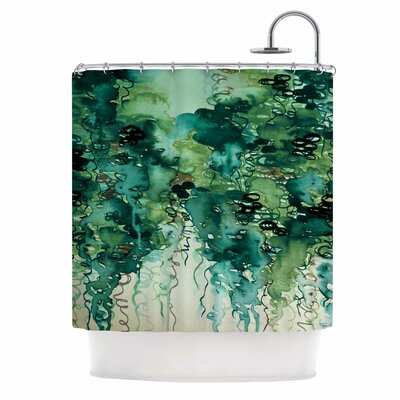 Ebi Emporium Beauty in the Rain Shower Curtain Color: Green/Emerald Green