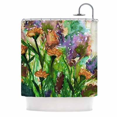 Ebi Emporium Floral insurgence 6 Shower Curtain Color: Pink/Purple